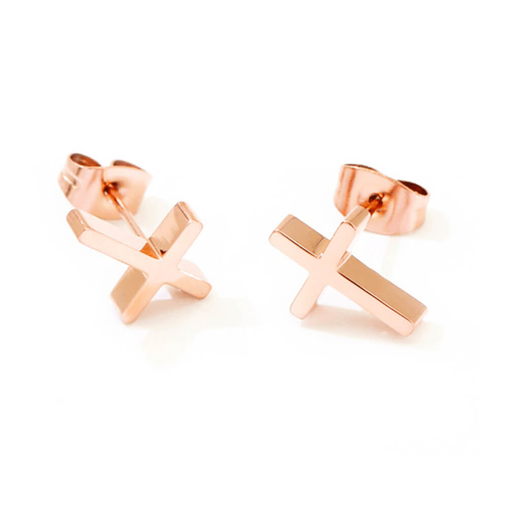 Rose Gold Color Cross Stud Earrings