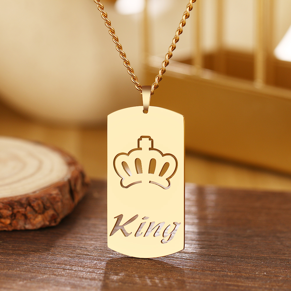 Crown Nameplate Necklace
