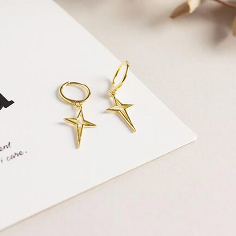 Gold Color Hanging Cross Earrings