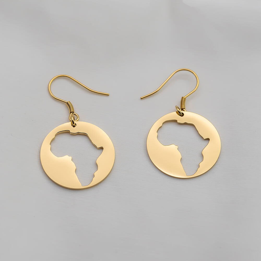 Gold Plated African Map Earring