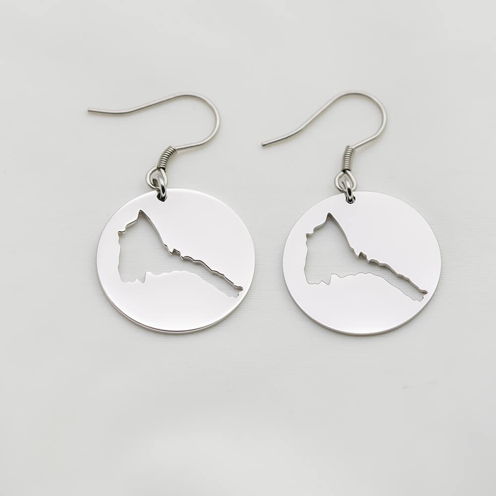Silver color Eritrea Map Pendant Earrings