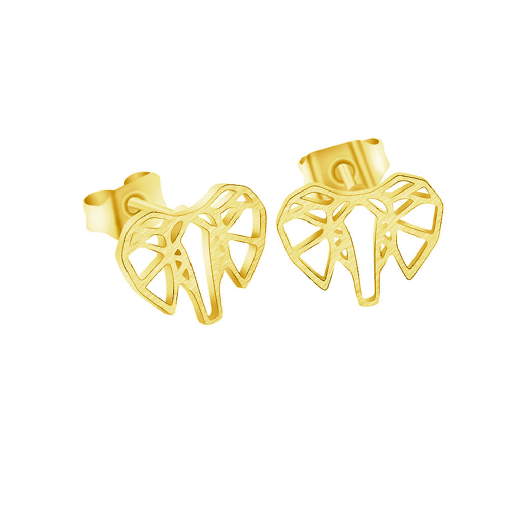 Gold Color Origami Elephant Stud Earrings