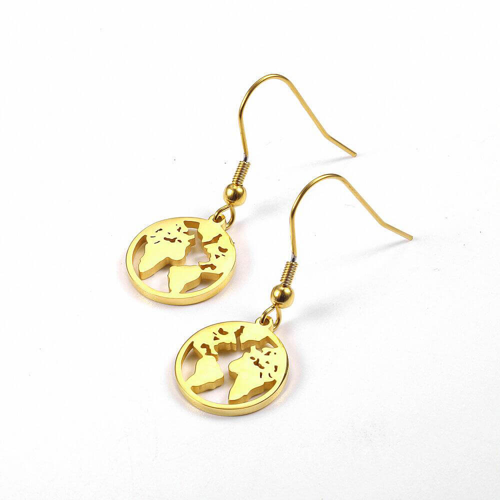 Gold Color World Map Dangle Earrings