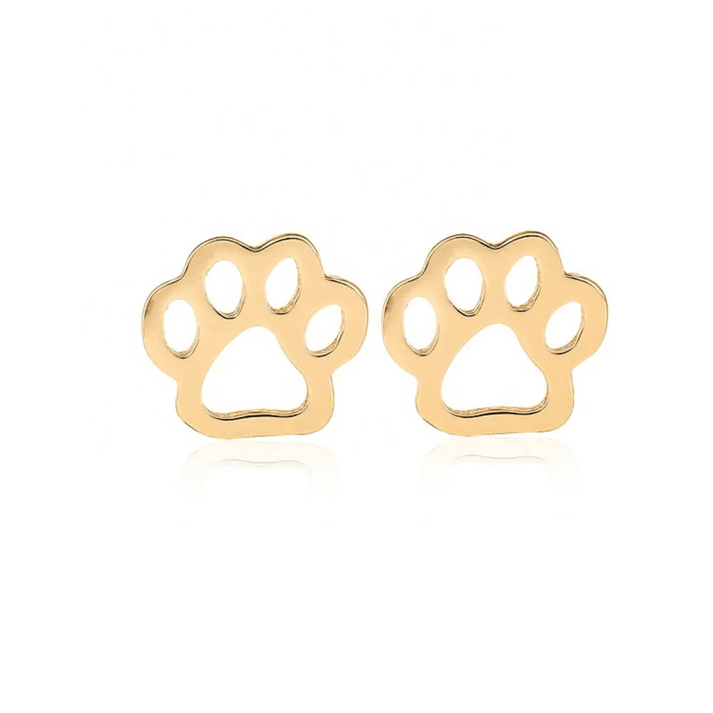 Gold Plated Dog Footprint Earring