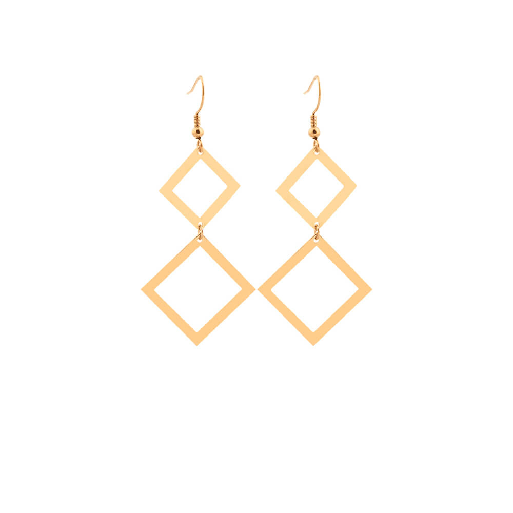 Gold Plated Drop Geometric Earring