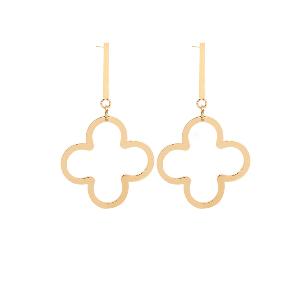 Gold Plated Clover Earrings