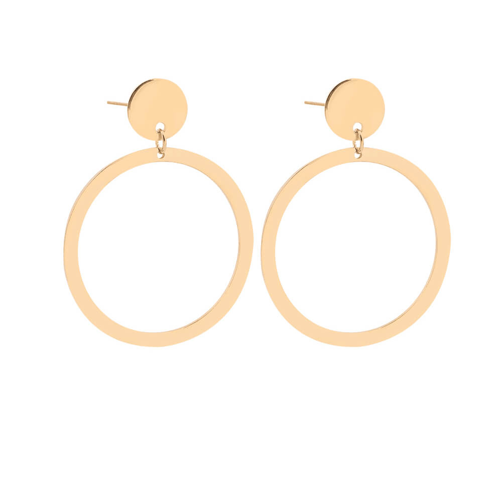 Gold Palted Circle Earrings