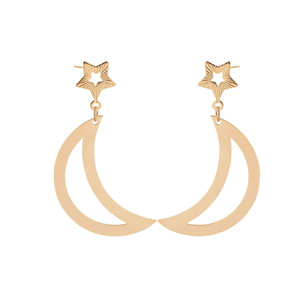 Gold Plated Moon Star Charm Earrings