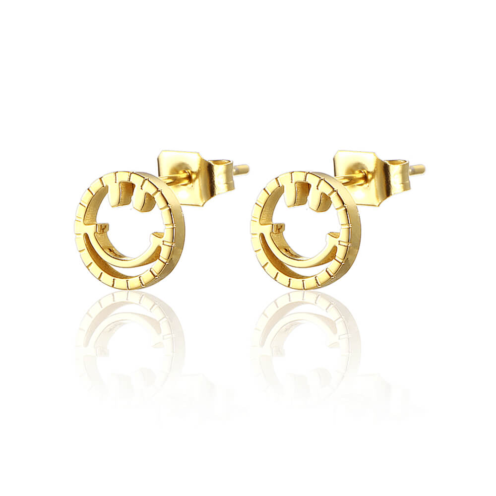 Gold Plated Smiling Face Earrings