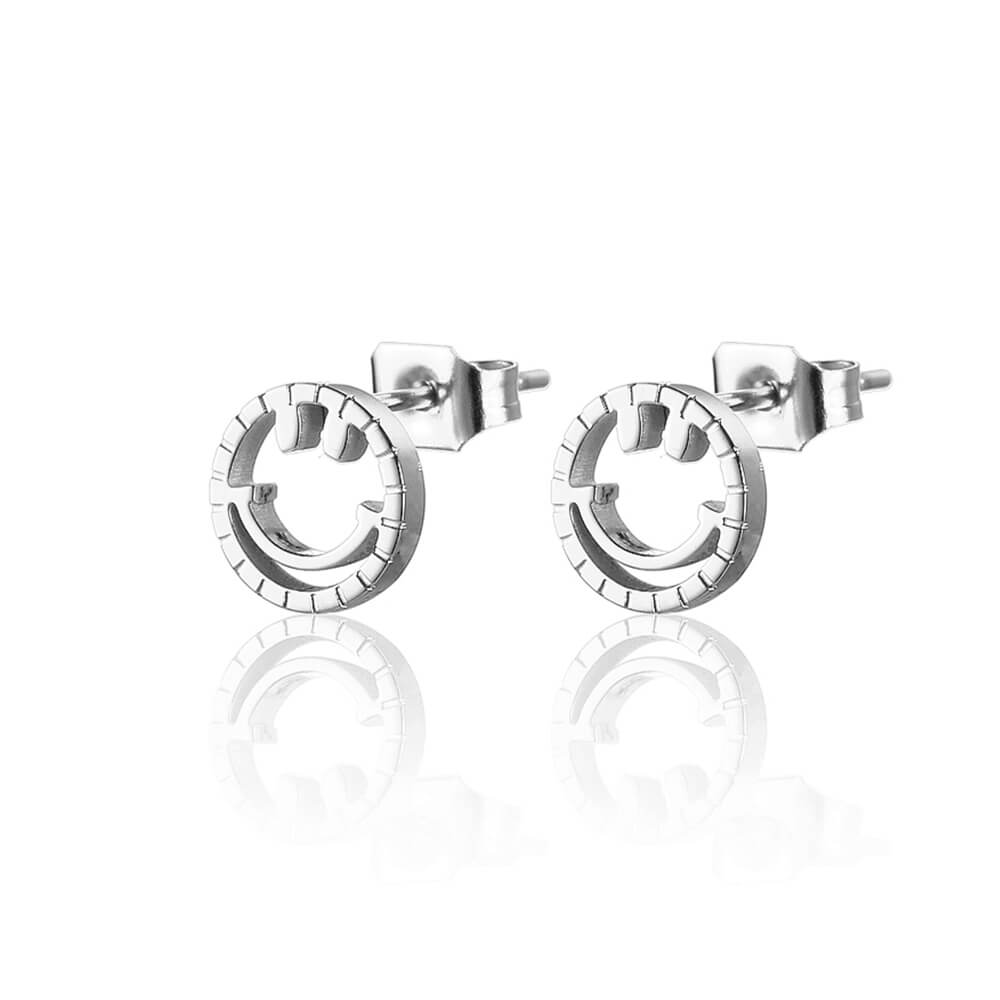 Silver color Smiling Face Earrings