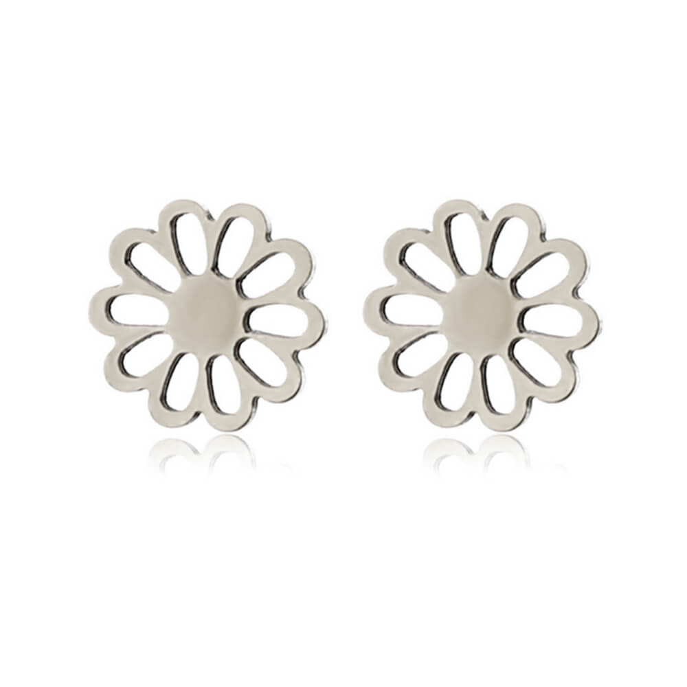 Silver Color Flower Shape Earrings Stud