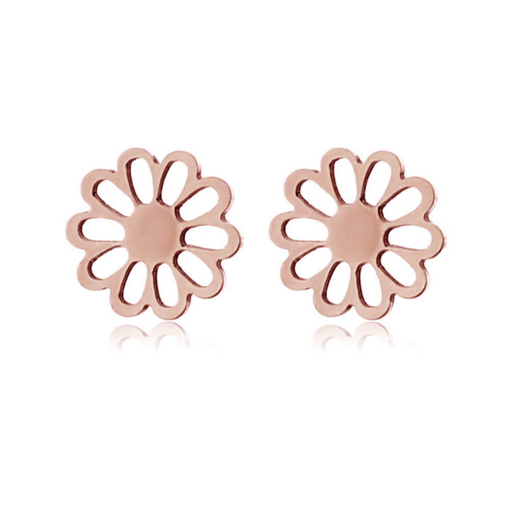 Rose Gold Plated Flower Shape Earrings Stud