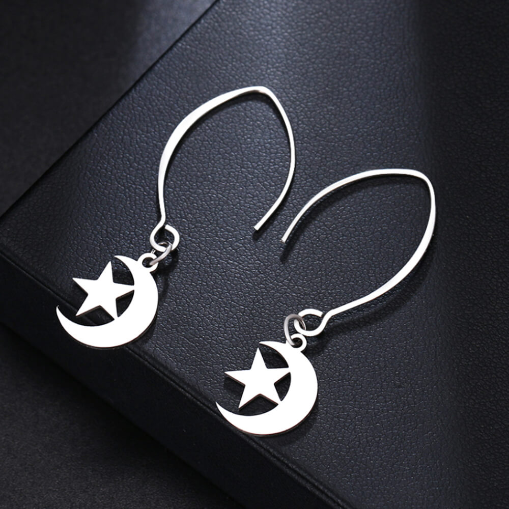 Silver Color Moon And Star Earrings