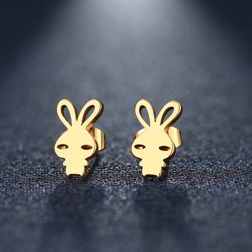 Gold Plated Rabbit Stud Earring