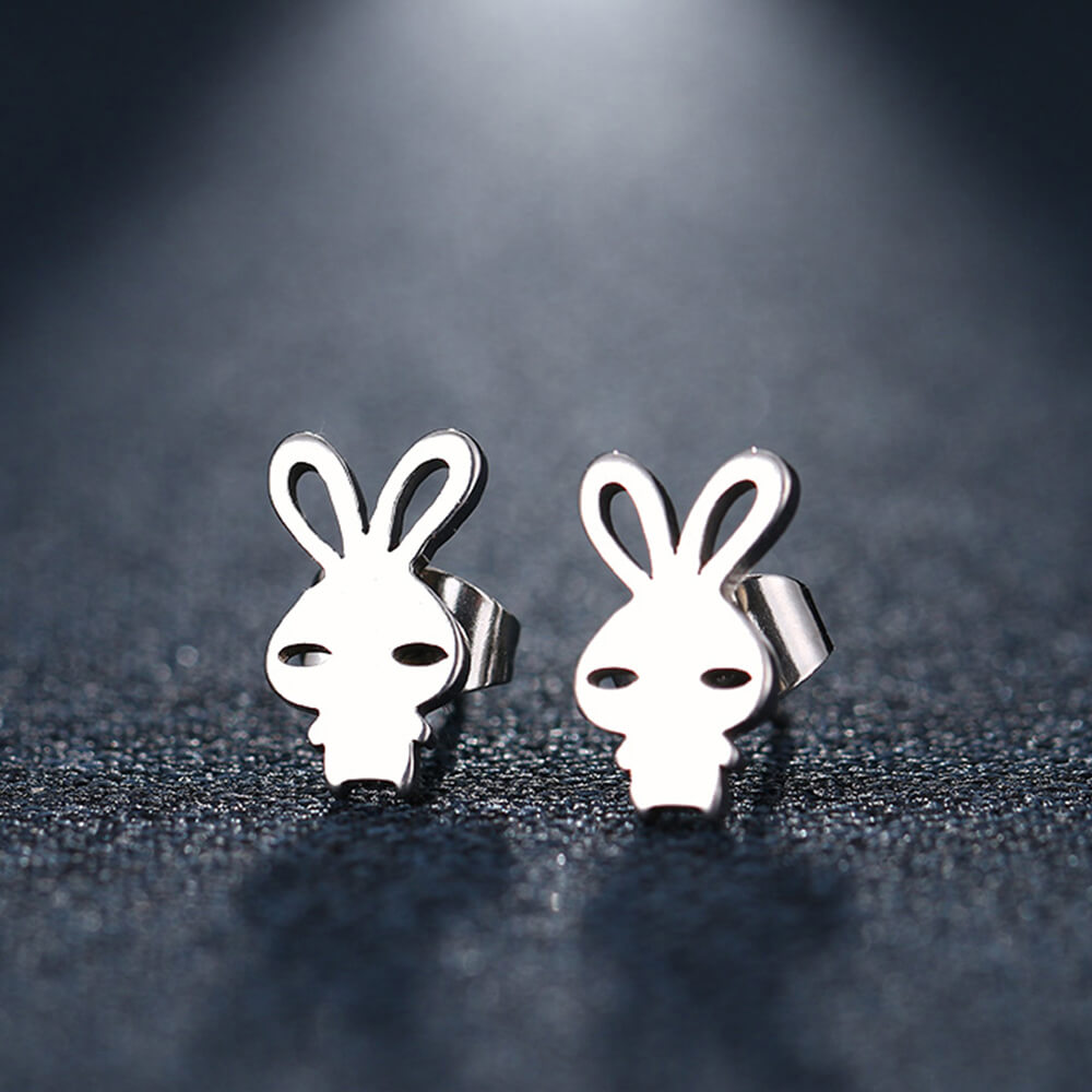 Silver Color Rabbit Stud Earring