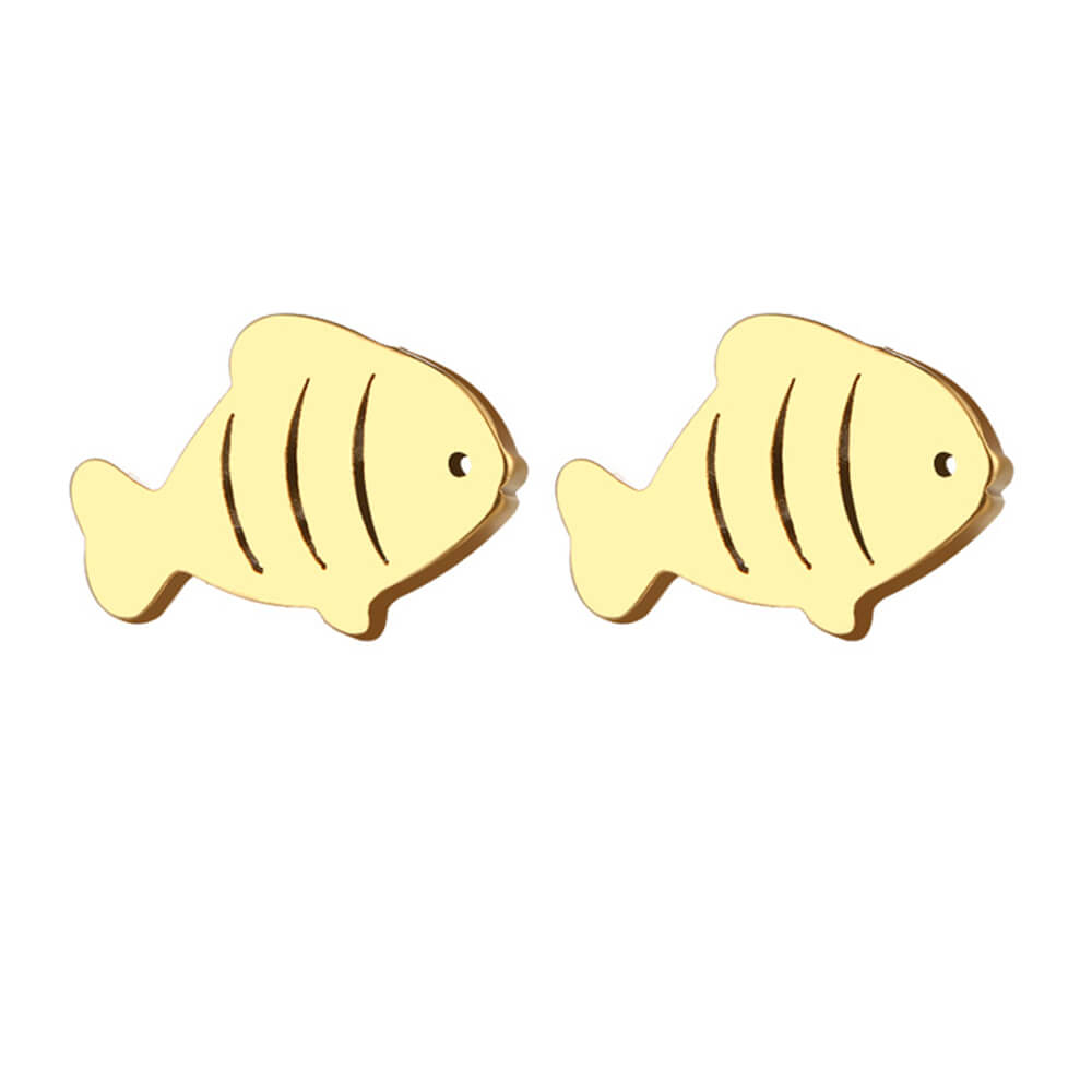Gold Plated Fish Shape Stud Earring