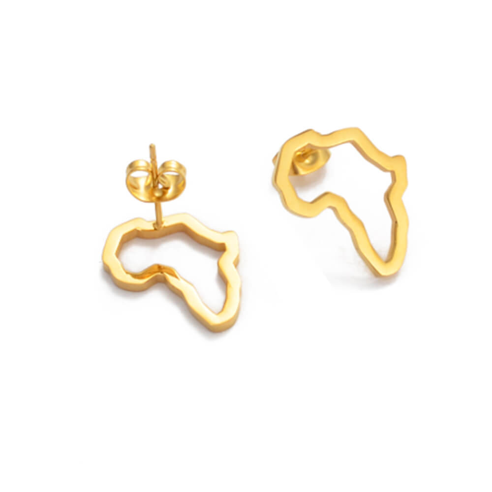 Gold Plated Africa Map Stud Earrings