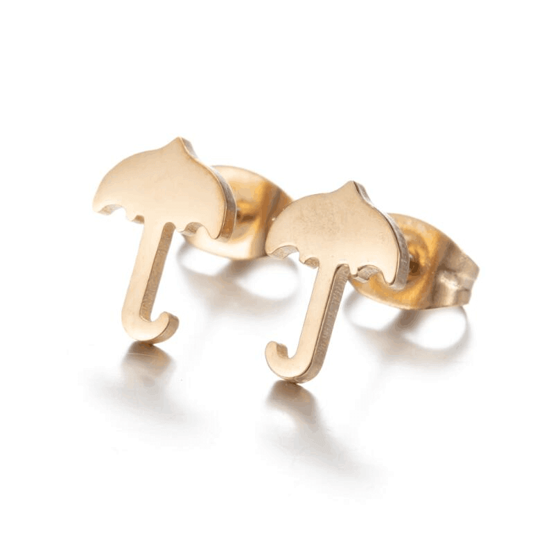 Gold Plated Umbrella Stud Earrings