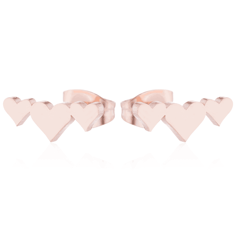 Rose Gold Color Triple Heart Stud Earring