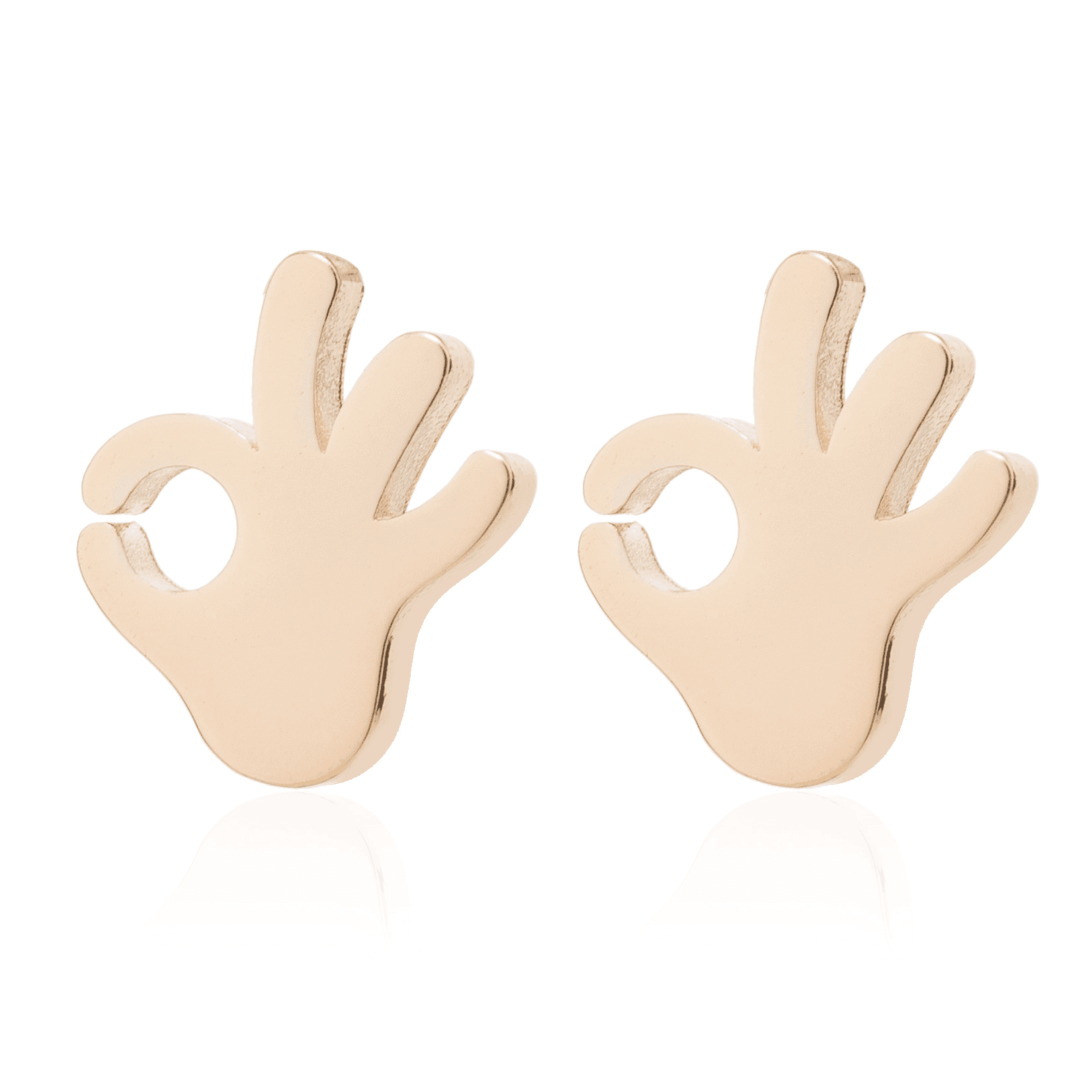 Gold Color Gestures OK Shaped Stud Earrings