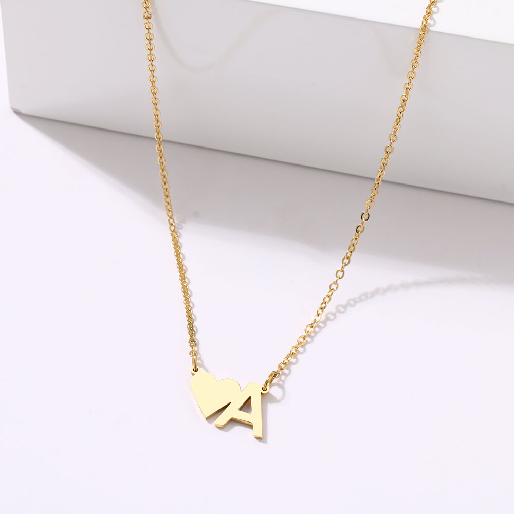 This is letter heart charm necklace.
