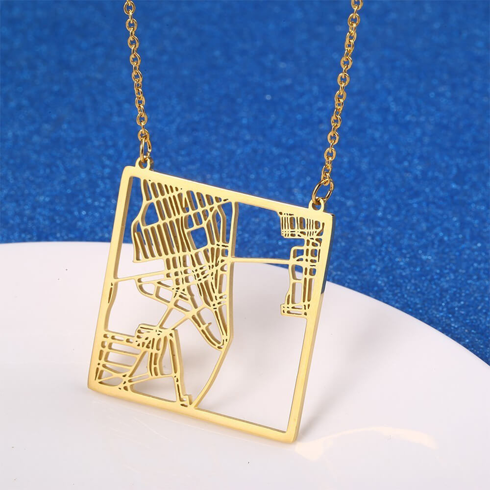 This is New York City map necklace.