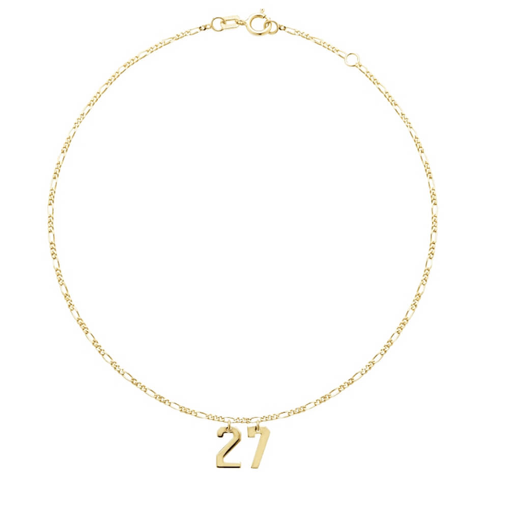Gold Plated Lucky Number Charm Bracelet