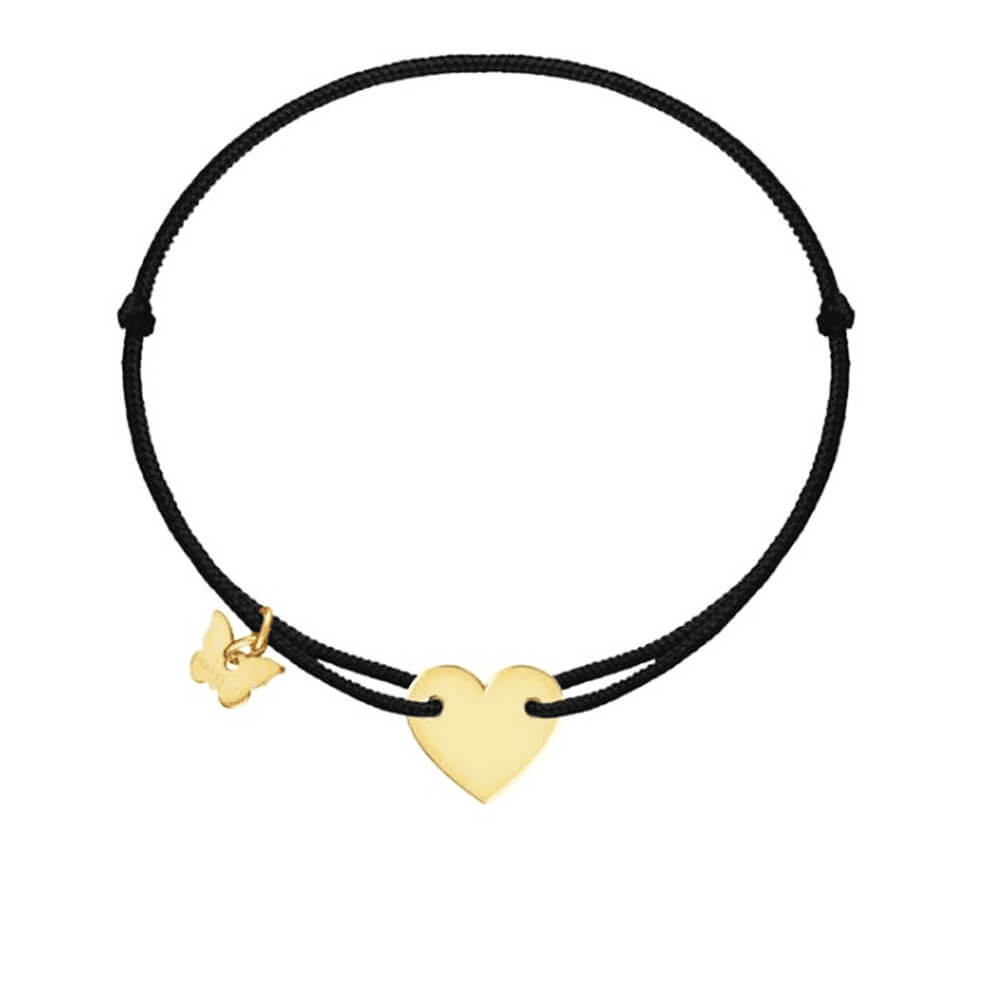 Leather Cord Heart Charm Bracelet